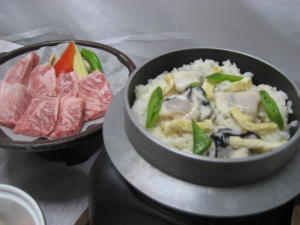 釜めしと松阪牛陶板焼き